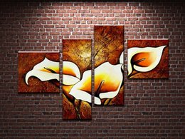 100%Hand painted 4 pcs set modern oil painting on canvas wall art pictures for home decoration flowers Home Decor gift