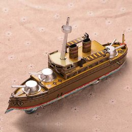 Wholesale Retro Tinplate Warship Clockwork Collections Vintage Tin Wind Up Toys Classic Handmade Ship Crafts