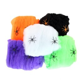 Wholesale Halloween Party Decoration Fake Spider webs Bar Haunted House Hallowmas spider s cobweb Saints Day products supply children gifts