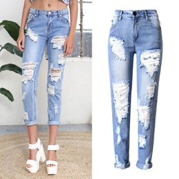 Wholesale news Europe American individuality trend hole ripped jeans for women wid waist no elastic denim pencil pants plus size robin jeans for women