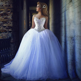 2019 Gorgeous Style Ball Gown Crystals Wedding Dresses Sweetheart Beaded Tulle Bridal Gowns vestido de noiva Custom W107 Dazzling