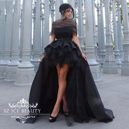 Wholesale Arabic Black High Low Prom Dresses African Cheap Chic Sheer Off Shoulder Sexy Backless Long Evening Party Dress Gowns