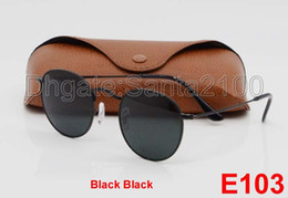 Wholesale 1pcs Fashion Round Sunglasses Eyewear Sun Glasses Designer Brand Black Metal Frame Dark mm Glass Lenses For Mens Womens Better Brown Cases