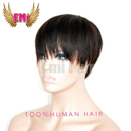 Wholesale Best Sale Pixie short Huamn Hair wigs for Black Women Human African American lace Wig with Baby hair Short Hair Wigs Density