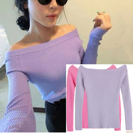 Wholesale Sexy Autumn and Winter Women Basic Pullover Sweaters female slit neckline Strapless Sweater thickening sweater top thread slim
