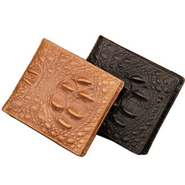Classical Design Genuine Leather Alligator Pattern Style Men Wallets Black Brown 3 Folds Card Holder Purse Wallet Free Shipping
