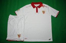 Wholesale Benwon Sevilla home white football kits men s short sleeve soccer uniforms athletic outdoor thai quality sports sets sports jerseys