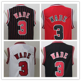 Wholesale 2016 new style Dwyane Wade Jersey Red White Black Stripes Embroidery Logo Stitched Men Shirts