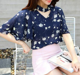 2016 chiffon women tops cheap-clothes-china half batwing sleeve halter cut-out summer tops floral or solid YJJ F005