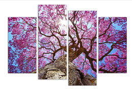 Wholesale Cherry blossoms painting Wall Art Printed On Canvas Wall Pictures For Living Room set with wood frame ready to hung