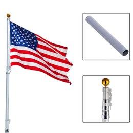 Wholesale 20Ft Aluminum Telescoping Flagpole Kit Outdoor Gold Ball US America Flag New