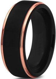 Wholesale mm Black Tungsten Carbide Mens Wedding Bands with Matte Center edge Rose Gold Plated Interior