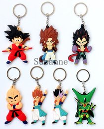 Hot Dragon Ball PVC Key chains Anime Cartoon Goku Dragonball Keychain Keyrings Pendant Key Ring Kids Toys Gifts 100pcs
