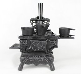 Wholesale Cast Iron Fireplace Model Heavy Antique Replica Fireplace Retro Home Bar Pub Club Table Decorations Metal Crafts