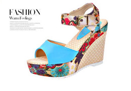 Women's summer sandals female slope with high-heeled shoes lace platform sandals with free shipping