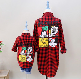 Wholesale Korean Cotton Mickey Mouse Plaid Long Shirt Girl Family Dress Alikes Mother Daughter Son Shirt Soft Red K7914