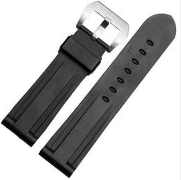 Regarder bracelet en caoutchouc noir à vendre-22mm 24mm MAN NOUVEAU Top Grade noir montre de plongée en caoutchouc de silicone BANDES Strap POUR BANDES PANERAI