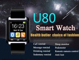 Wholesale Smart Watch U80 Smartwatch Bluetooth Wrist Watch Pedometer Anti Lost Reminding Aluminum Plate U Watch For iphone plus IOS Samsung S6 S7