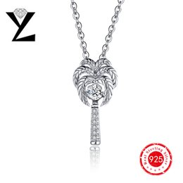 Personalized Charms Coconut Palm Tree 925 Sterling Silver Pendant AAA Dancing Stone Pendant 2016 Famous Designer YL Brand Jewelry DP18840A