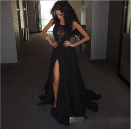 2019 Black Slit Evening Gowns Vintage Lace See Through Prom Party Dress New Arrival Chiffon Floor Length Special Occasion Gowns