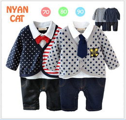 2016 Spring Autumn Infant Baby Gentleman Style Rompers Toddler Boys Long Sleeve Jumpsuits Boy False Two-Piece Stripe Polka Dots Romper 70-90