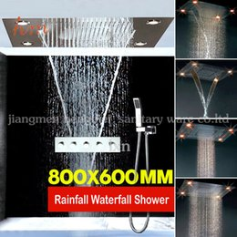 Wholesale 4 function mm Rectangular embed ss shower faucet mixer set rainfall waterfall luxury bathroom accessory set
