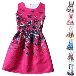 wholesale Kids Clothes Girls 2015 New Brand Designer Girl Princess Dress Flower Print Dresses For Girls Dobby Kids Party Wear Teenagers