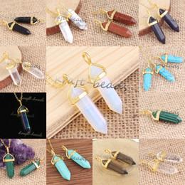 Wholesale 10Pcs High Quality Gold Plated Various Quartz Stone Hexagon Prism Shape Pendant Statement Necklace Charm Jewelry