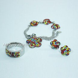 Wholesale Couple Bracelet Gift Set - 2016 Multicolor stainless steel jewelry set steel ring earring bracelet with crystal stone for love best gift for her with free shipping