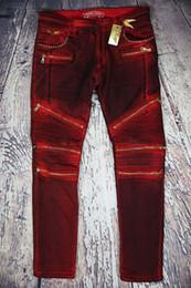 Wholesale New true brand designer Mens balmain Biker Jeans Brand Design Wash Ripped jeans Shinny jean Male Denim Pants Big Size