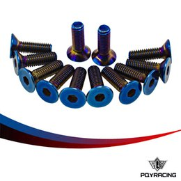 Wholesale PQY RACING PC Burnt Titanium Steering Wheel Bolts Fit a of steering wheel Works Bell Boss Kit PQY LS06T