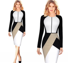 Wholesale 2016 New Fashion Pink White Panelled Work Dresses Long Sleeves Knee Length Women Causal Dresses Party Gowns Cheap In Stock