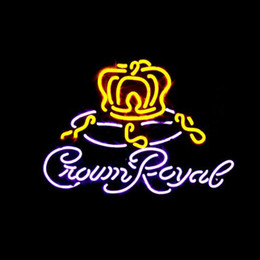 CROWN ROYAL Real Glass Neon Light Sign Home Beer Bar Pub Recreation Room Game Room Windows Garage Wall Sign