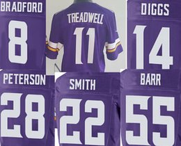 Wholesale Mens Elite Laquon Treadwell Stefon Diggs Harrison Smith Adrian Peterson Anthony Barr Sam Bradford vikings jersey best quality stitched
