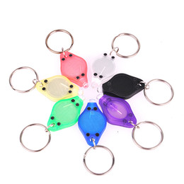 Wholesale 100pcs Mini Torch Key Chain Ring PK Keyring White LED Lights UV LED Light LED Bulbs Photon Micro Light LED Keychain Flashlight Mini Light