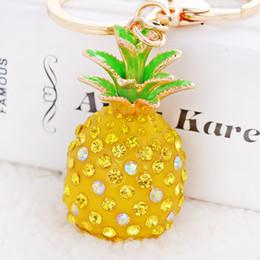 Novelty Summer Fruits Pineapple Bromeliad Girl Handbag Bromel Keychain Bromelia Keyring Fruit Theme Purse Bag Charm Key Chain Ring for Women