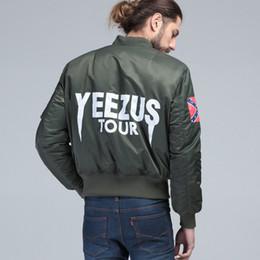 Wholesale PLUS SIZE KANYE WEST YEEZUS tour pilot varsity military army yeezus flight air force BOMBER jacket winter Men s hip hop MA1 coat