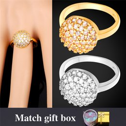 U7 Luxury Cubic Zirconia Ring For Women Engagement New 18K Real Gold Platinum Plated Crystal Wedding Accessories Bands Rings