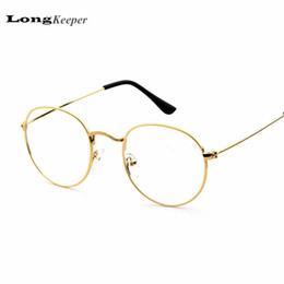 Or gros cadres lunettes à vendre-Gros-2016 New Designer Femme Lunettes optiques Cadres métalliques Lunettes rondes Cadre lentille claire Eyeware Noir Or Argent Eye verre P010