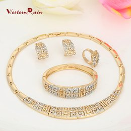 Wholesale WesternRain The most classic style K Gold Plated Vintage Jewelry Chunky Necklace Chain and Bangle Set Designer Jewelry A313