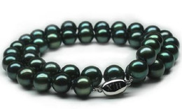 Hot sell 10-11mm tahitian black green pearl necklace 18 inch S925 silver clasp