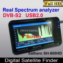 Buscador hd sathero en Línea-Sathero SH-600HD DVB-S2 Satélite Digital Buscador de medidor Buscador Sat HD con pantalla LCD de 7 pulgadas, USB 2.0, salida HDMI analizador de espectro