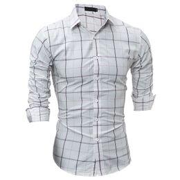 Mens Plaid Shirt For Long Sleeve Fashion Business Casual For White T Shirts Slim Mens Dress Shirts Drop Shopping