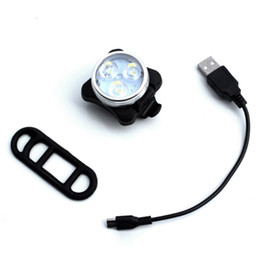 Bicycle LED Front Tail Warning Safety USB Light Taillight Rechargeable 4-modes White Lamp free shipping