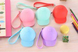 Wholesale Cute cartoon candy color baseball cap coin bag mini hat key silica gel female change hand bag gift DHL