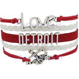 Custom-Infinity Love National Hockey League Detroit Red Wings Bracelet Ice Hockey Player Fans Adjustable Bracelet Bangles-Drop Shipping