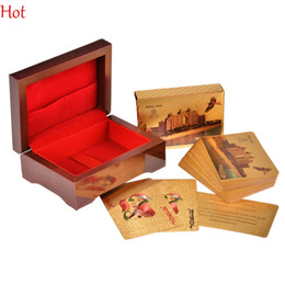 Atlantis Poker NEW Foil 24K Carat Gold Foil Plated Poker Game Playing Cards Gift Collection Certificate Playing Cards With Wood Box SV021107