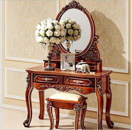 Wholesale European mirror table antique bedroom dresser French furniture french dressing table pfy800