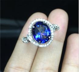 Descuento piedras preciosas conjunto de plata de ley Tanzanita Blue Topaz Natural Gemstones prong Anillos de ajuste para las mujeres Chica tamaño 8 * 10mm S925 plata esterlina con anillos de oro blanco de 18 k