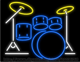 "Drum Set Music Neon Sign Custom Real Glass Tuble Store Bar Disco KTV Club Handmade Concert Play Display Advertisement Neon Signs 30""x24"""